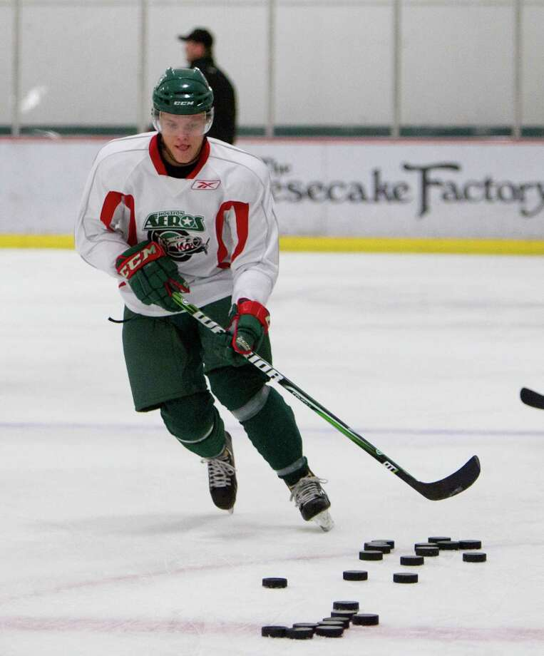 Instead of being in the middle of his first training camp with the Minnesota Wild, Finnish center Mikael Granlund is in Sugar Land preparing to play with the Aeros. Photo: Bob Levey / ©2012 Bob Levey