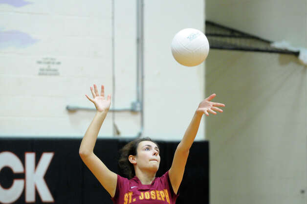 Stamford High School hosts St. Joseph in a girls volleyball game in Stamford, Conn., Oct. 3, 2012. Stamford won 3-0. Photo: Keelin Daly / Stamford Advocate