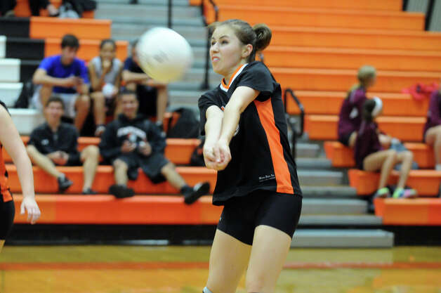 Stamford's Daria Alentanska in action as Stamford High School hosts St. Joseph in a girls volleyball game in Stamford, Conn., Oct. 3, 2012. Stamford won 3-0. Photo: Keelin Daly / Stamford Advocate