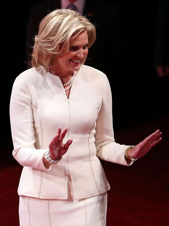 DENVER, CO - OCTOBER 03:  Ann Romney wife of Republican presidential candidate, former Massachusetts Gov. Mitt Romney (not pictured) arrives prior to the Presidential Debate at the University of Denver on October 3, 2012 in Denver, Colorado. The first of four debates for the 2012 Election, three Presidential and one Vice Presidential, is moderated by PBS's Jim Lehrer and focuses on domestic issues:  the economy, health care, and the role of government.  (Photo by Chip Somodevilla/Getty Images) Photo: Chip Somodevilla, Getty Images