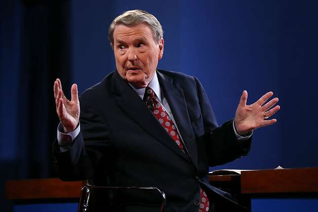 DENVER, CO - OCTOBER 03:  Debate moderator Jim Lehrer speaks prior to the Presidential Debate at the University of Denver on October 3, 2012 in Denver, Colorado. The first of four debates for the 2012 Election, three Presidential and one Vice Presidential, is moderated by PBS's Jim Lehrer and focuses on domestic issues:  the economy, health care, and the role of government.  (Photo by Justin Sullivan/Getty Images) Photo: Justin Sullivan, Getty Images