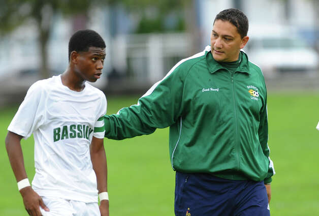 Bassick Head Coach Sal Hasaif during boys soccer action at Went Field in Bridgeport, Conn. on Wednesday October 3, 2012. Photo: Christian Abraham / Connecticut Post