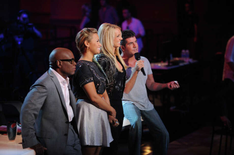 "THE X FACTOR: The judges pictured from L-R: L.A. Reid, Demi Lovato, Britney Spears and Simon Cowell welcome the contestants to the first night of ""Boot Camp"" in Miami, FL. (                                                      )"