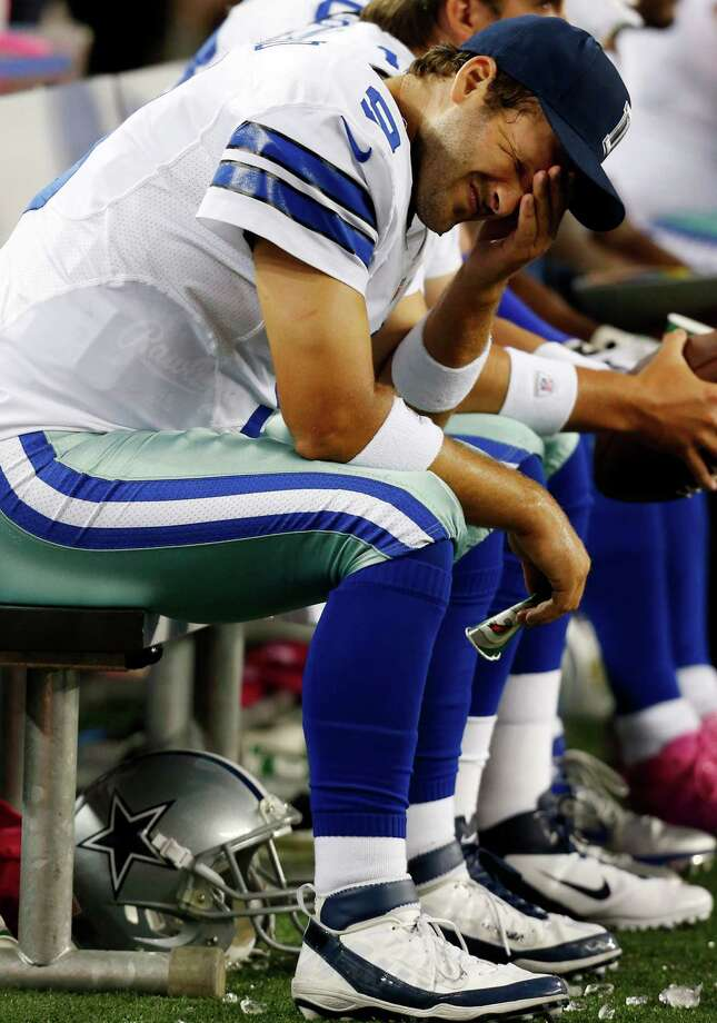 Tony Romo has been an easy target of critics after throwing five interceptions Monday night. Photo: Sharon Ellman / FR170032 AP