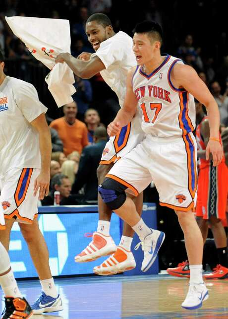 One-time Knicks Toney Douglas, left, and Jeremy Lin are reunited with the Rockets. Photo: Bill Kostroun / FR51951 AP