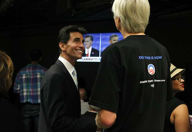 Senator Mark Leno, right greets people as they gather to watch President Barack Obama and Mitt Romney in the first Presidential debate, at the San Francisco Democratic Headquarters, Wednesday October 3, 2012, in San Francisco, Calif. Photo: Lacy Atkins, The Chronicle