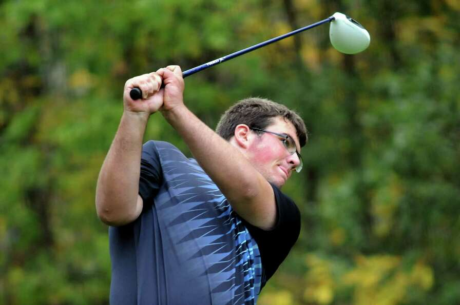 Ballston Spa's Zach Scala drives the ball during the Section II Class A golf championship on Wednesd