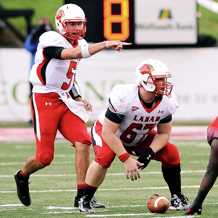Lamar quarterback Ryan Mossakowski and center Ian Kelso at Lafayette on Saturday, September 1, 2012. Photo taken: Randy Edwards/The Enterprise Photo: Randy Edwards, Photojournalist / Enterprise