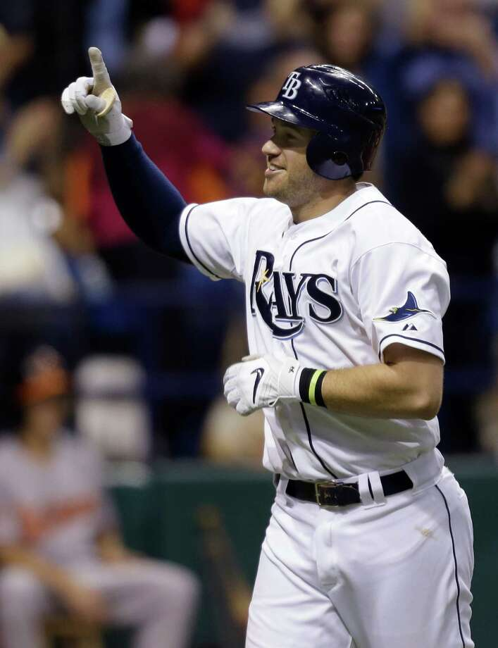 Tampa Bay Rays' Evan Longoria reacts after hitting a sixth-inning home run off Baltimore Orioles relief pitcher Jake Arrieta during a baseball game Wednesday, Oct. 3, 2012, in St. Petersburg, Fla. This was Longoria's third home run of the game. Photo: Chris O'Meara