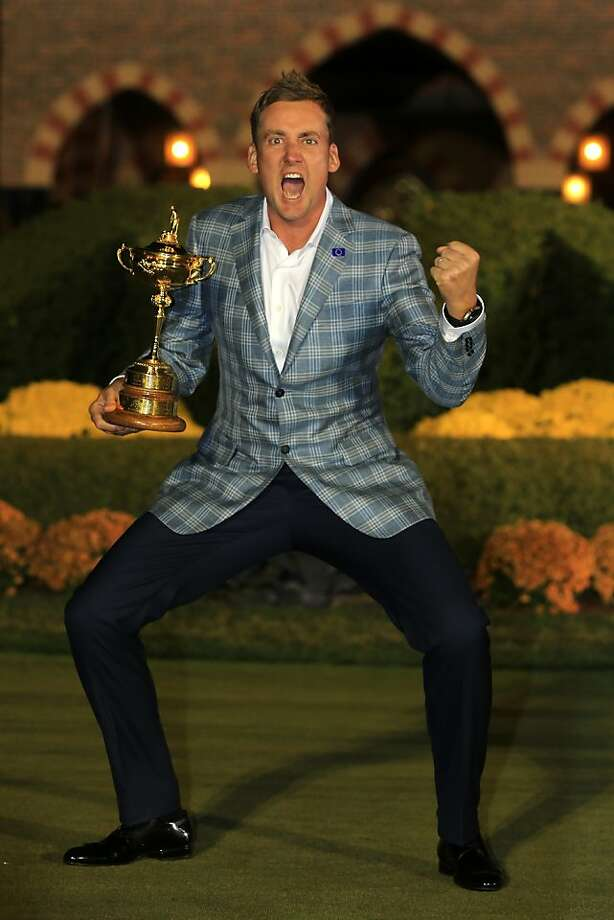 Ian Poulter - will future U.S. teams call him a Poulter-geist? - was the embodiment of the enthusiasm and never-say-die spirit of Europe. Photo: David Cannon, Getty Images