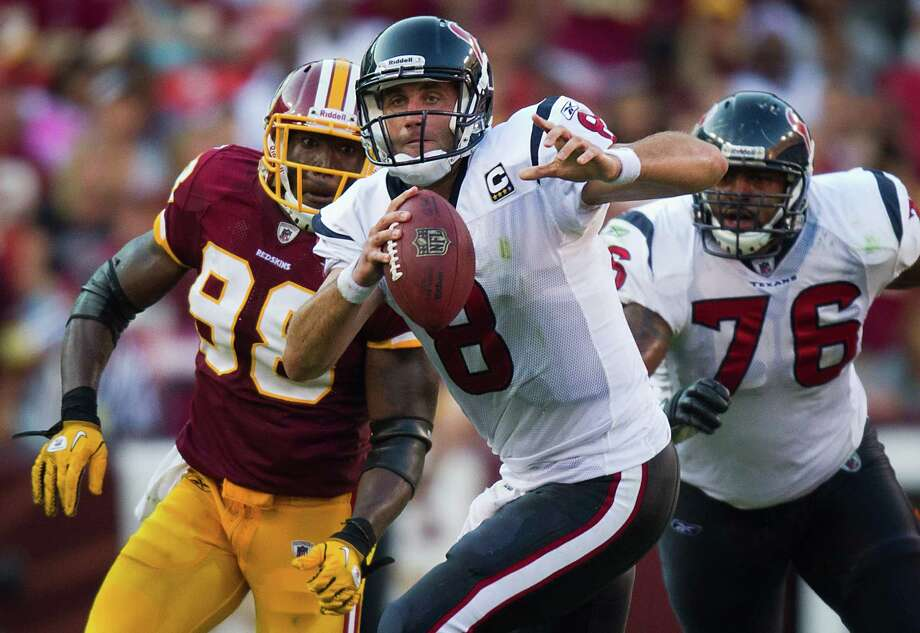 Matt Schaub threw for 497 yards to lead the Texans to an overtime win at Washington in 2010. Photo: Smiley N. Pool / Houston Chronicle