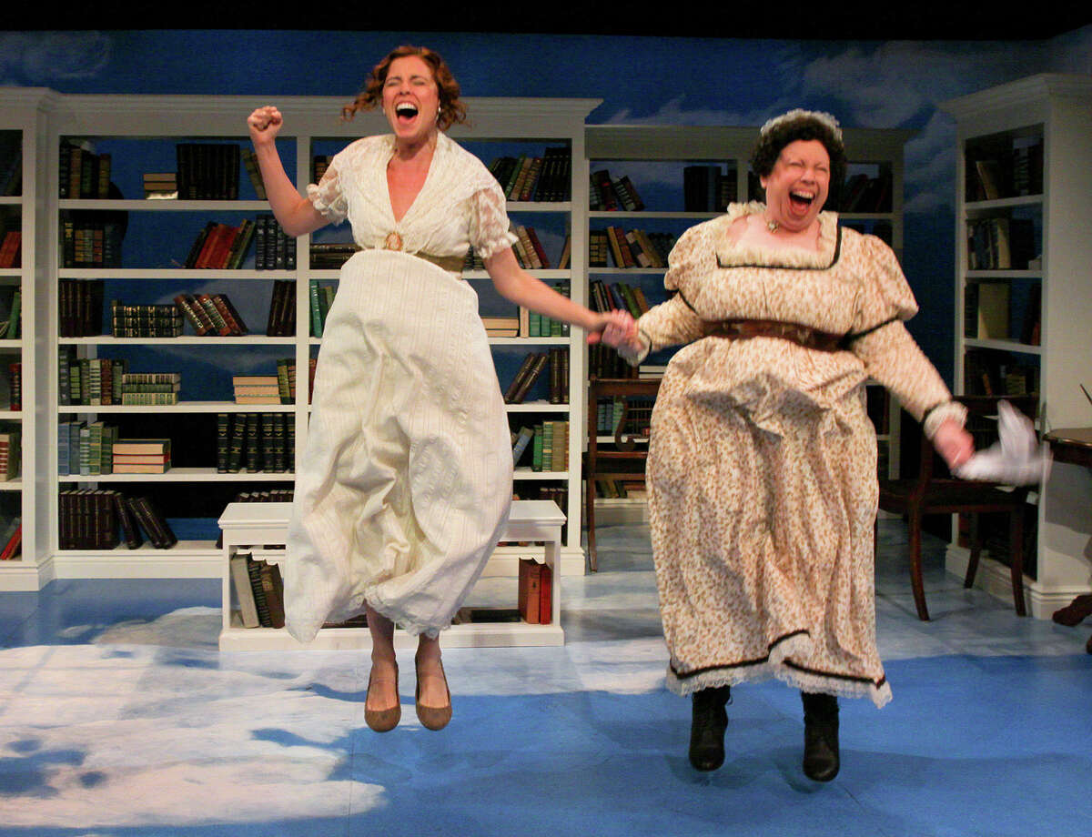 Lydia Bennet, played by Gisela Chipe (left) and her mother, Mrs. Bennet, played by Michele Tauber (right), share ecstatic joy in learning that eligible men outnumber the unmarried Bennet daughters in Pride@Prejudice: a romantic deconstruction, playing Sept. 28 - Oct. 28, 2012, at Capital Rep, 111 N. Pearl St, Albany. (Joseph Schuyler)