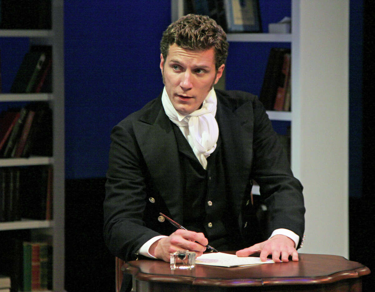 The dashing Mr. Darcy, played by actor Nick Dillenburg, can't get his mind off Elizabeth Bennet's deep brown eyes in Pride@Prejudice: a romantic decontruction, playing Sept. 28-Oct. 28, 2012, at Capital Rep, 111 N. Pearl St., Albany. (Joseph Schuyler)