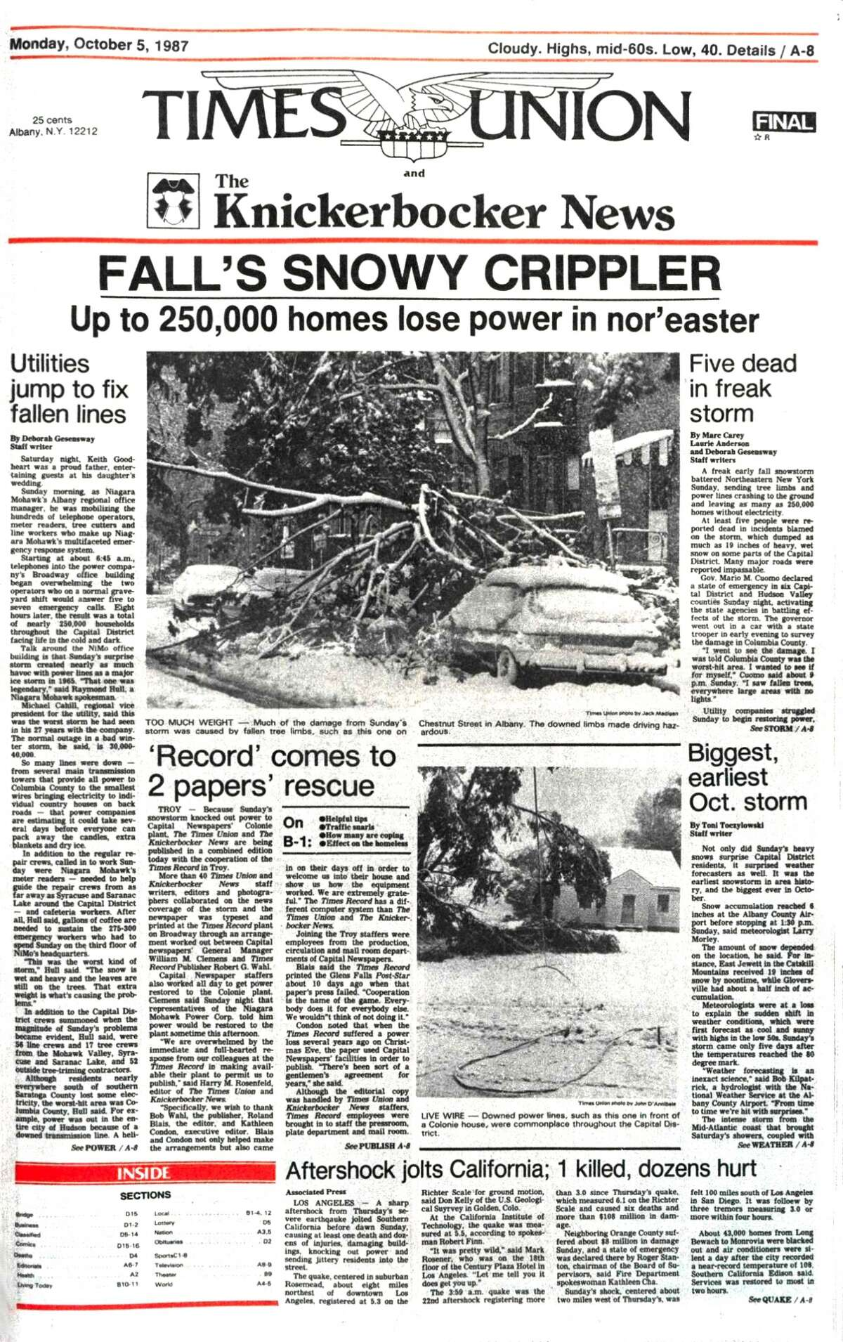 Oct. 4, 1987, edition of the Times Union