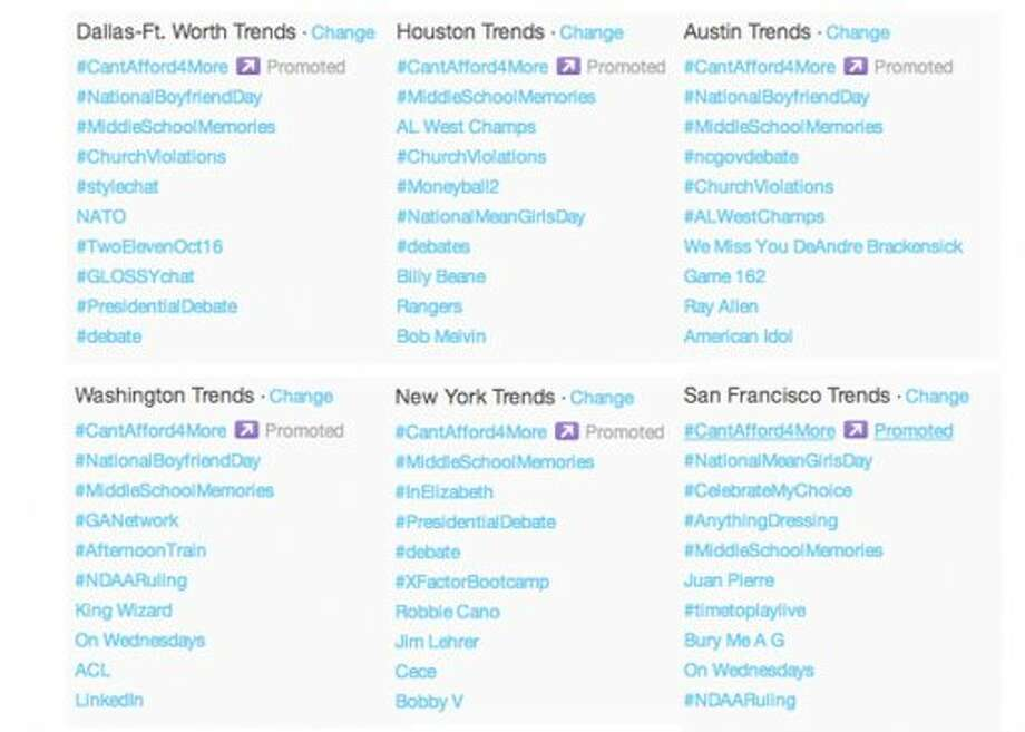 Trending topics on Twitter around 9 p.m. ET.  (Jana Kasperkevic / Houston Chronicle)