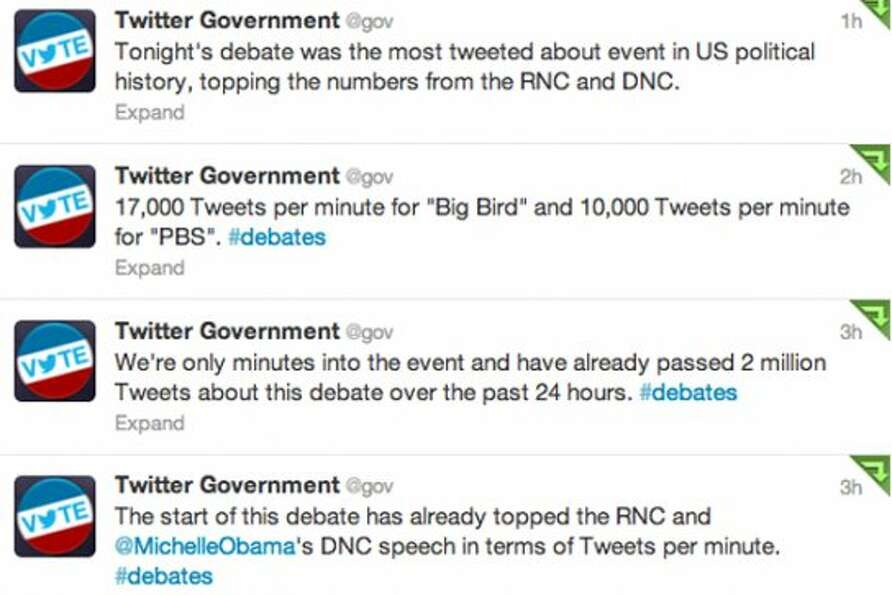 Screenshot of Twitter's @gov account's tweets during the debate.  (Jana Kasperkevic / Houston Chroni