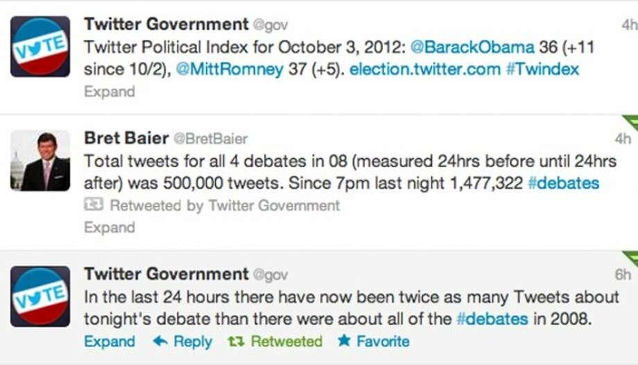 Screenshot of Twitter's @gov account's tweets prior to the debate.  (Jana Kasperkevic / Houston Chronicle)