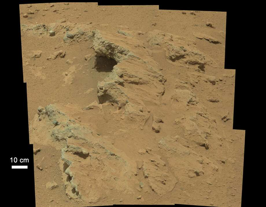 This image obtained from NASA, shows a rock outcrop in a photo taken by the Mars Curiosity rover on September 14, 2012. NASA/JPL-Caltech/MSSS Photo: -, AFP/Getty Images / AFP