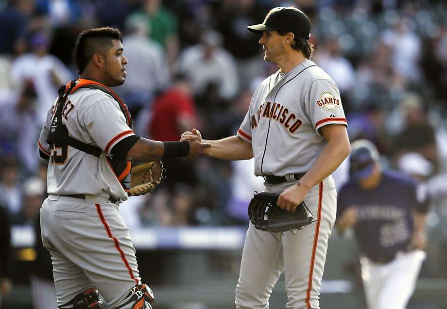 April 9: Barry Zito (right) starts a comeback season with a shutout of Colorado. Photo: David Zalubowski, AP