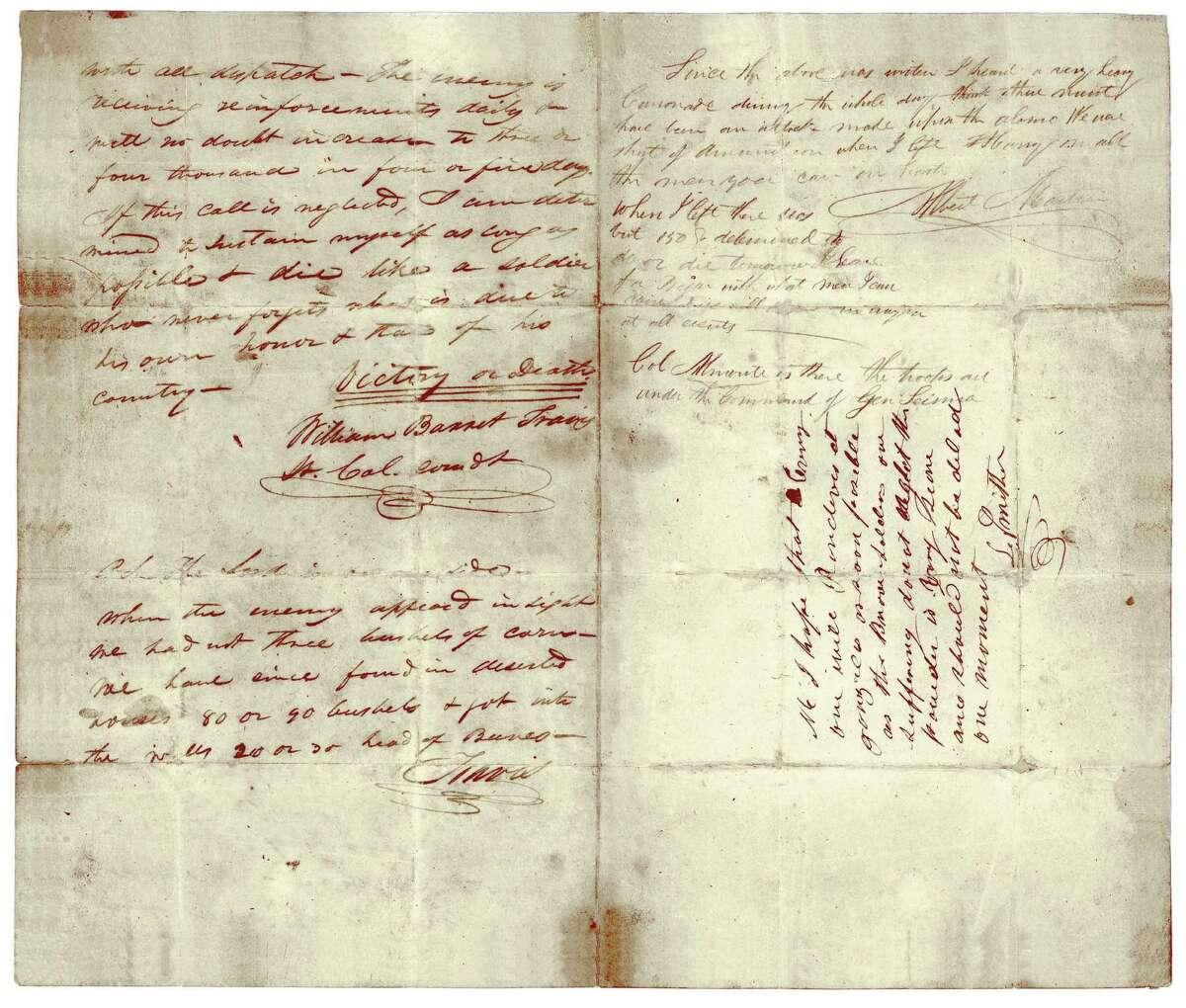 In an undated handout photo, Lt. Col. William Barret Travis' 1836