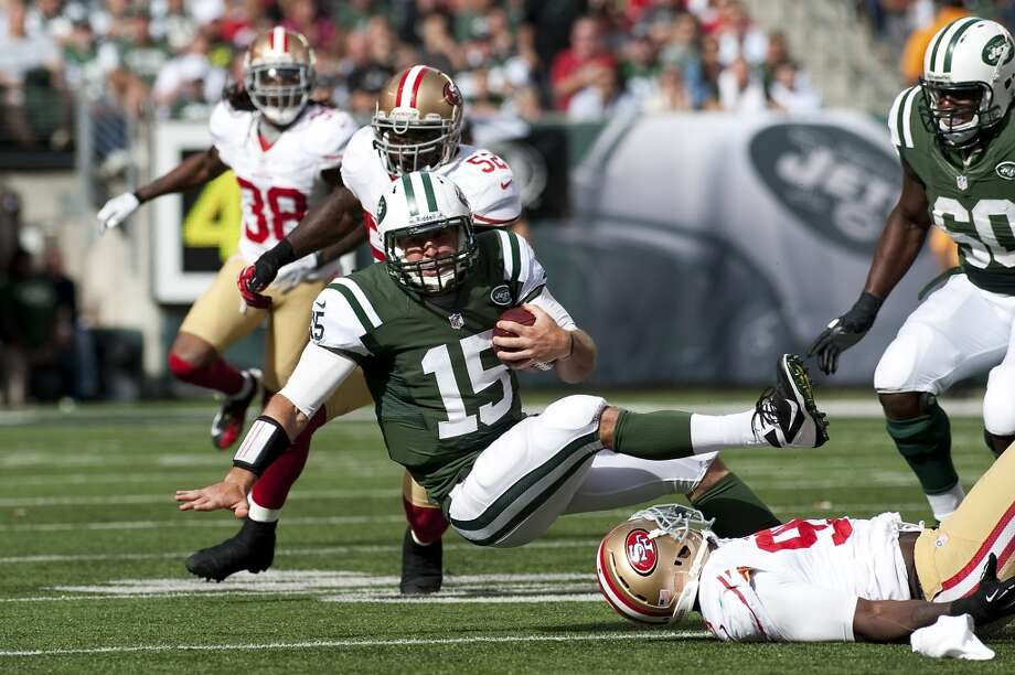 Aldon Smith tackles Mark Sanchez during the 49ers victory over the Jets. On Sunday, the San Francisco 49ers beat the New York Jets, 34-0, at Metlife Stadium in Rutherford, New Jersey.