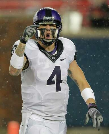 TCU Horned Frogs quarterback Casey Pachall (4) is angry at one of his receivers after a miscue caused him to call a time out in the fourth quarter as Texas Christian University plays Southern Methodist University in Dallas, Texas, September 29, 2012. Pachall was arrested on suspicion of DWI early Thursday, October 4, 2012. (Rodger Mallison/Fort Worth Star-Telegram/MCT) Photo: Rodger Mallison, McClatchy-Tribune News Service / Fort Worth Star-Telegram