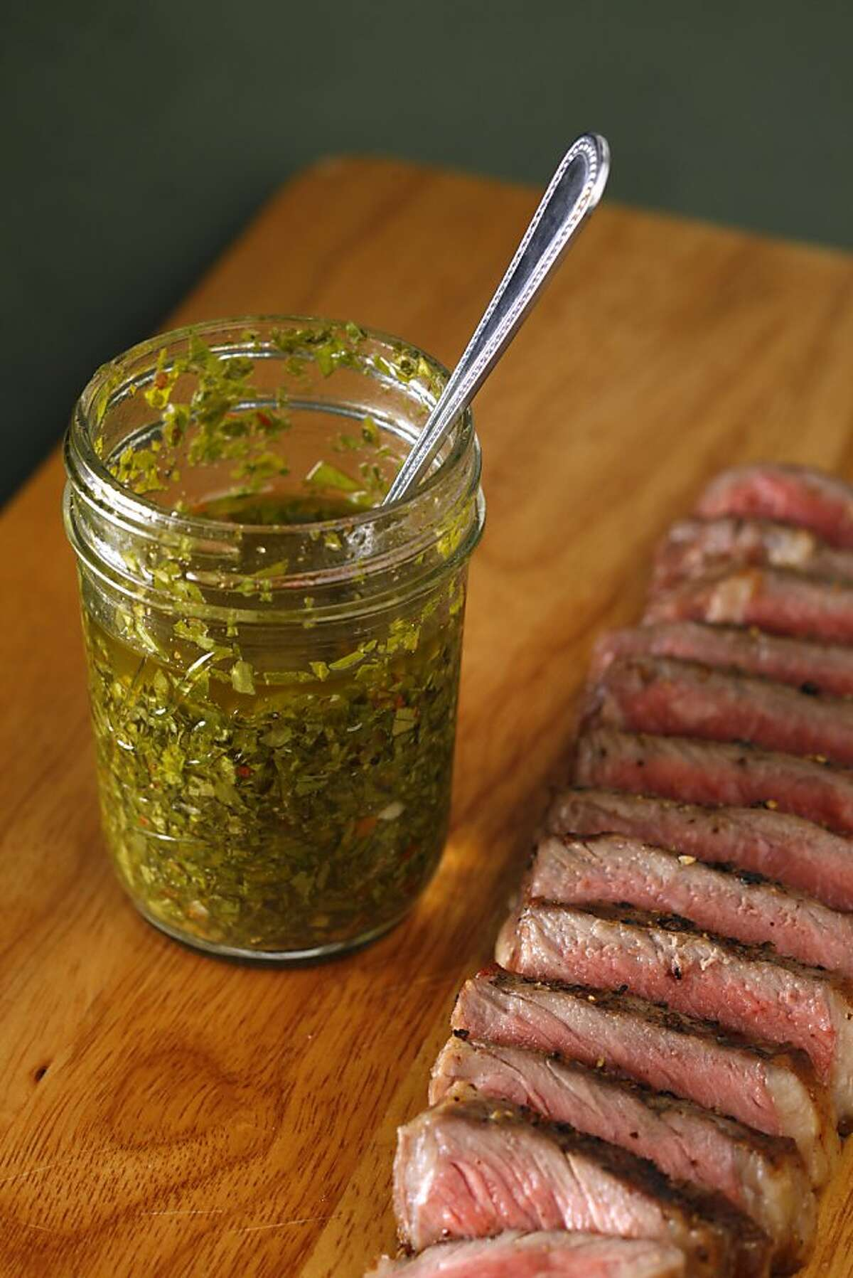 Destino's Chimichurri (accompanying a steak) as seen in San Francisco, California, on Wednesday, September 26, 2012. Food styled by Lauren N. Reuthinger.
