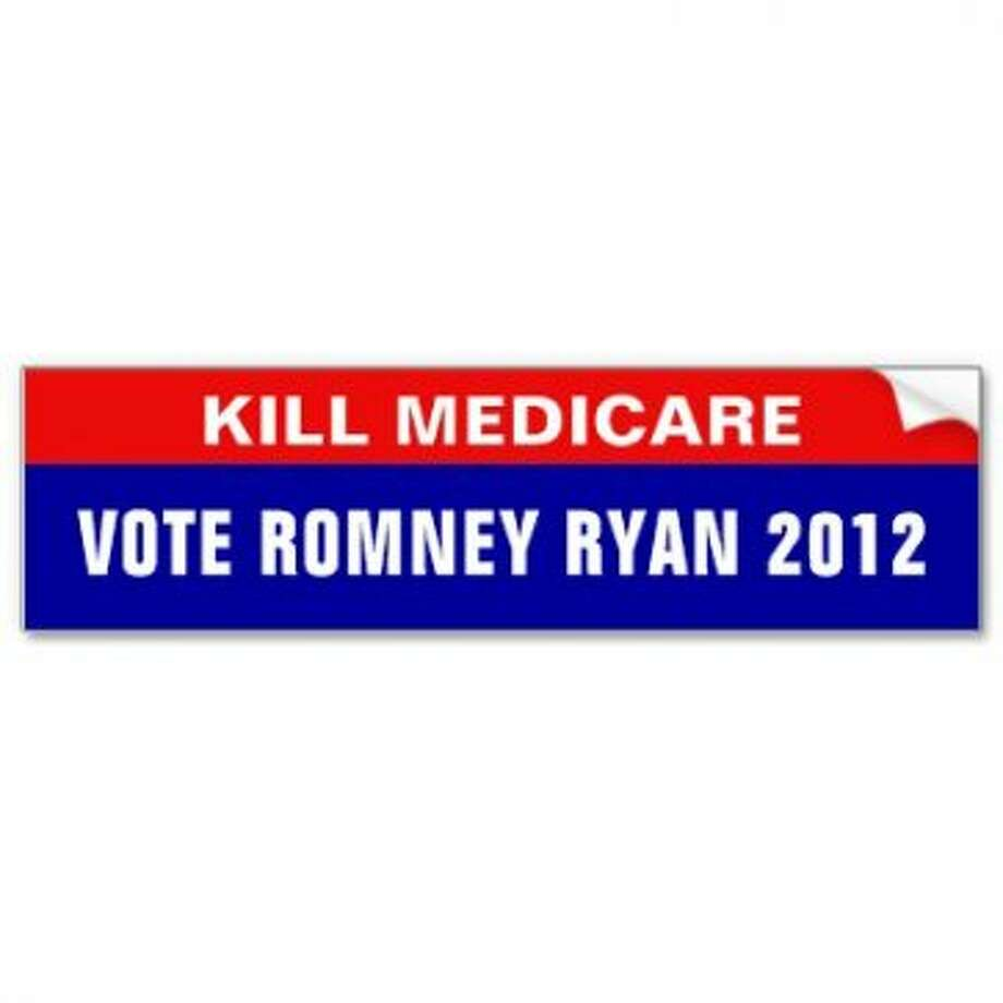 "This is listed as an anti-Romney sticker, but you have to wonder if everyone would see it that way. The idea, however, is the same: ""The other guy wants to take your stuff."" View: http://www.zazzle.com/anti_romney_ryan_bumper_sticker-128105833574051501"