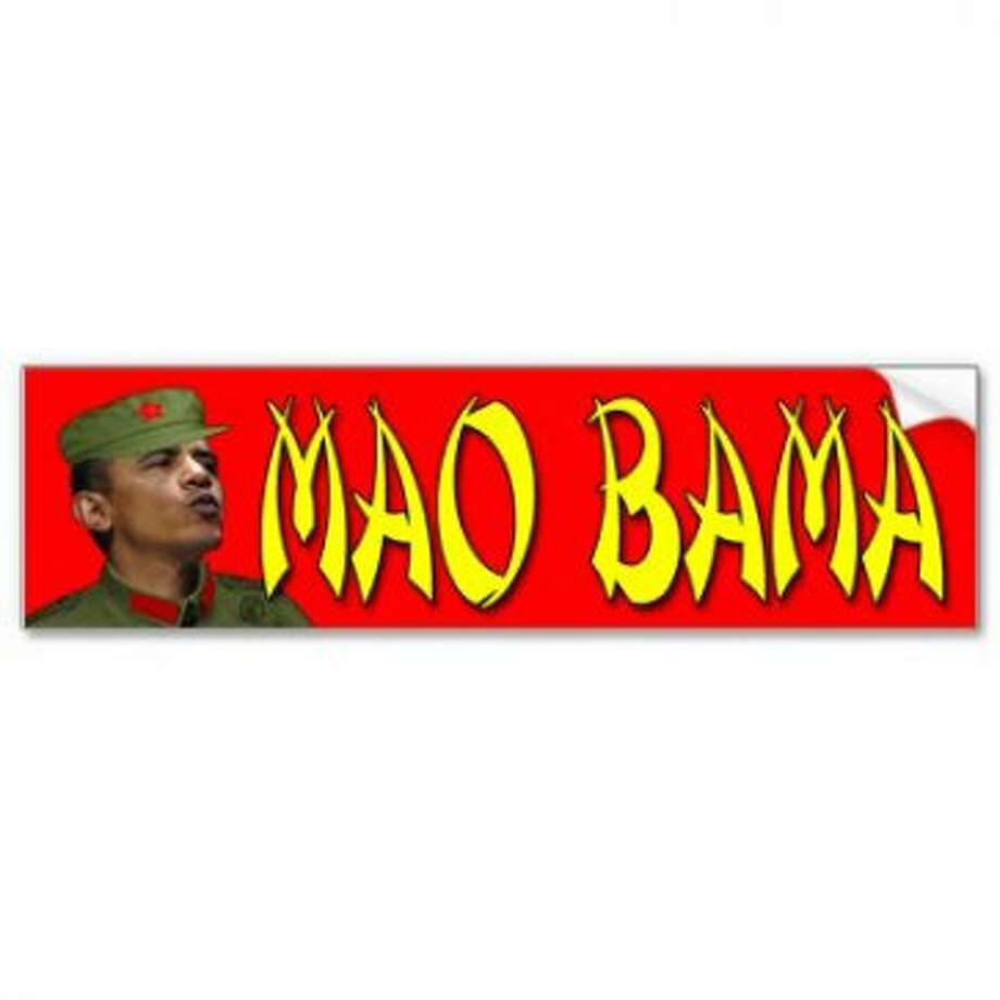 The Photoshop job leaves a lot to be desired here, but it definitely drives the point home. View: http://www.zazzle.com/mao_bama_picture_bumper_sticker-128581221318813257
