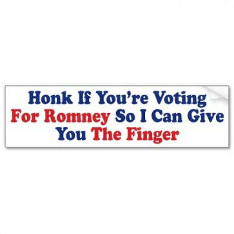 In a telling sign of the times, some political bumper stickers shift the focus from the candidate to the supporters. View: ttp://www.zazzle.com/honk_if_youre_voting_for_romney_bumper_sticker-128964586679104152