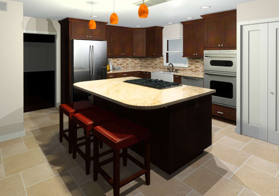 3D rendering of proposed kitchen remodel