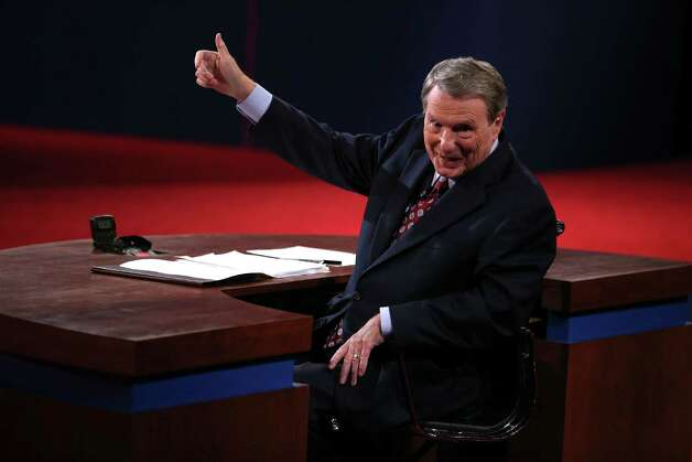 DENVER, CO - OCTOBER 03:  Debate moderator Jim Lehrer speaks prior to the Presidential Debate at the University of Denver on October 3, 2012 in Denver, Colorado. The first of four debates for the 2012 Election, three Presidential and one Vice Presidential, is moderated by PBS's Jim Lehrer and focuses on domestic issues:  the economy, health care, and the role of government. Photo: Chip Somodevilla, Getty Images / 2012 Getty Images