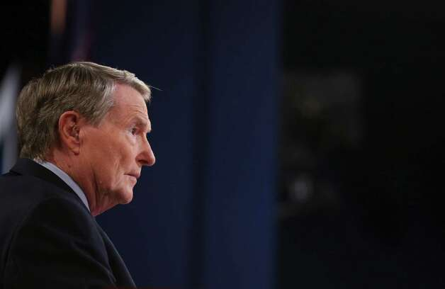 Debate moderator Jim Lehrer during the presidential debate at the University of Denver, in Denver, Oct. 3, 2012. The debate on Wednesday will be the first of three between President Barack Obama and Republican presidential nominee Mitt Romney. Photo: DOUG MILLS, New York Times / NYTNS