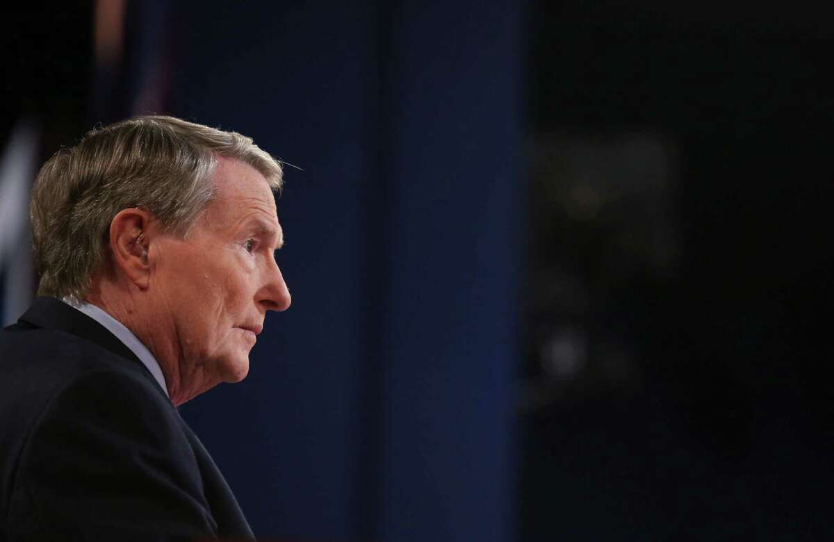 Debate moderator Jim Lehrer during the presidential debate at the University of Denver, in Denver, Oct. 3, 2012. The debate on Wednesday will be the first of three between President Barack Obama and Republican presidential nominee Mitt Romney.