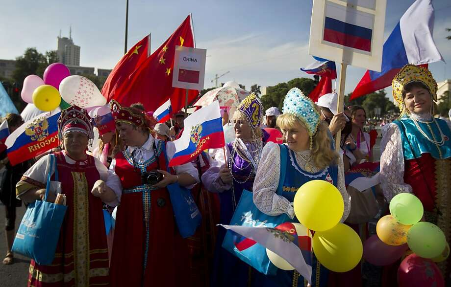 Participants from Russia march during a parade featuring evangelical Christians from dozens of nations. Many Israelis are uneasy with the evangelicals' backing because of hard-line views. Photo: Sebastian Scheiner, Associated Press
