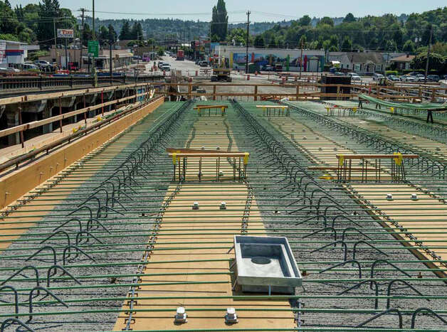 Looking south at the new bridge's south approach. Concrete recently was poured to form the deck on the south approach. Photo: John Stamets / 2012