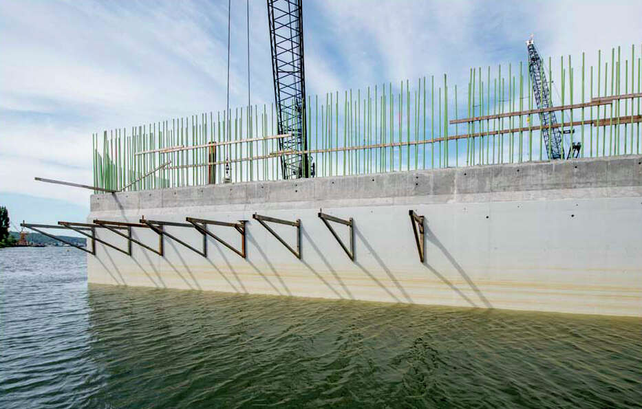 Here's another view of one of the new bridge's main piers under construction.