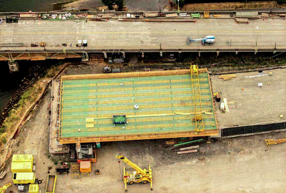 An aerial view of the 'green' rebar forming the south approach. This photo was taken Sept. 9 Photo: John Stamets / 2012