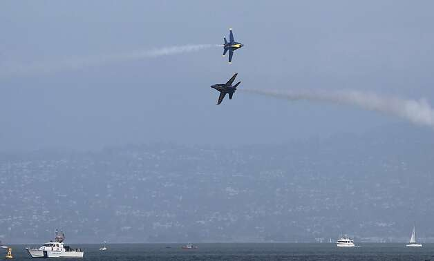 The Blue Angels practice for Saturday's performance over the America's Cup World Series race course in San Francisco, Calif. on Thursday, Oct. 4, 2012. Photo: Paul Chinn, The Chronicle