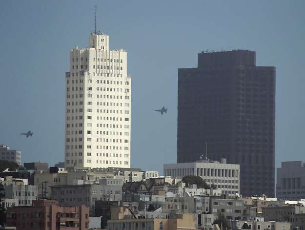 The Blue Angels practice for Saturday's Fleet Week performance over downtown San Francisco, Calif. on Thursday, Oct. 4, 2012. Photo: Paul Chinn, The Chronicle