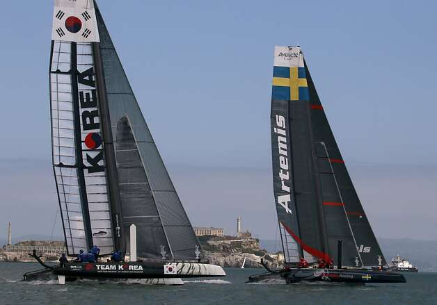 Artemus Racing White takes an early lead on Team Korea and goes on to win its quarterfinal match of the America's Cup World Series in San Francisco, Calif. on Thursday, Oct. 4, 2012. Photo: Paul Chinn, The Chronicle