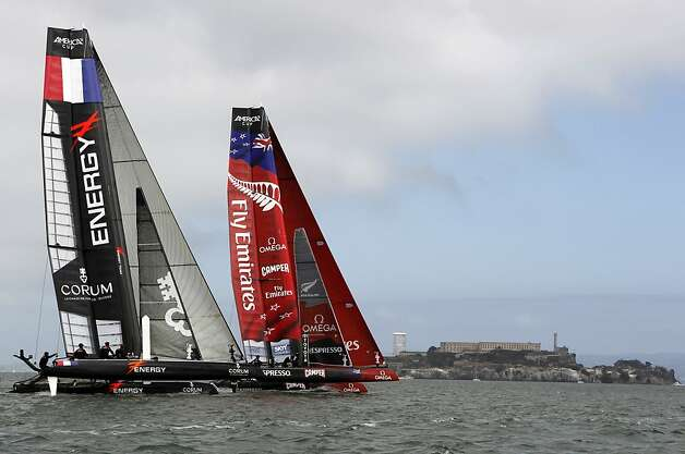 Emirates Team New Zealand sailed to victory over Energy Team of France in the match-racing quarterfinals. Photo: Paul Chinn, The Chronicle