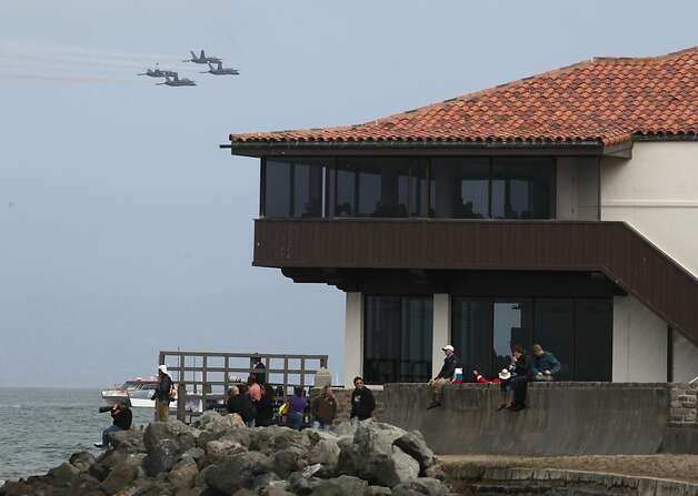 The Blue Angels fly past the Saint Francis Yacht Club in San Francisco, Calif. on Thursday, Oct. 4, 2012, during a pratcie session for Saturday's Fleet Week performance. Photo: Paul Chinn, The Chronicle