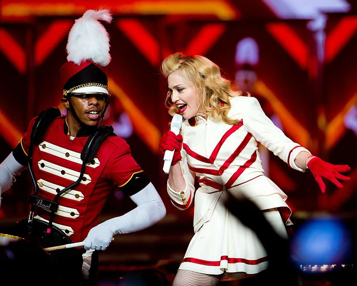 Madonna performs at the MDNA North America Tour Opener at the Wells Fargo Center August 28, 2012 in Philadelphia, Pennsylvania.