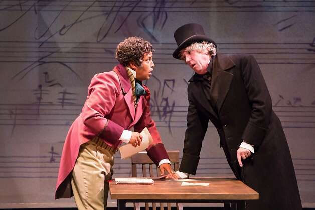 Anton Diabelli (Michael Gene Sullivan, left) writes the waltz that obsesses Beethoven (Howard Swain). Photo: Tracy Martin