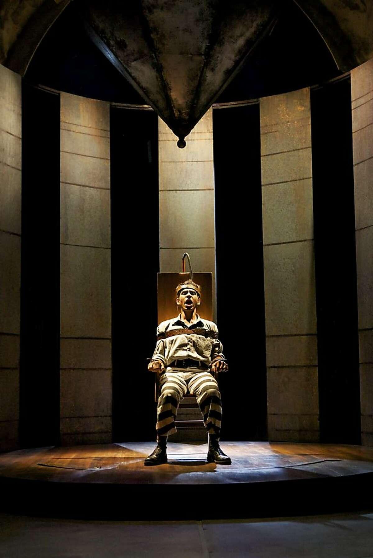 Giuseppe Zangara (Aleph Ayin) sings as he awaits execution in Shotgun Players' production of the Stephen Sondheim musical