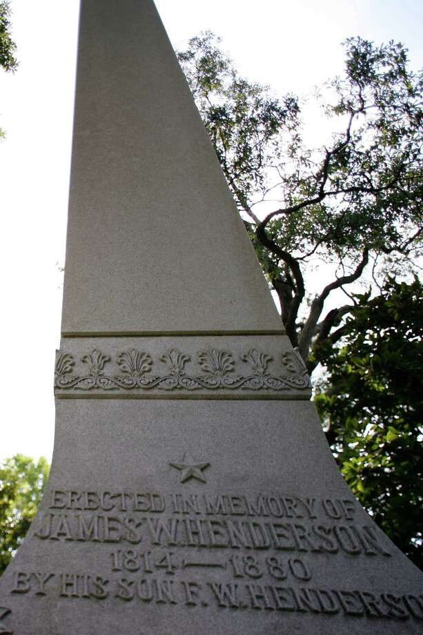 A tall monument marks the gravesite of James W. Henderson in Houston's Glenwood Cemetery. Photo: File / Houston Chronicle