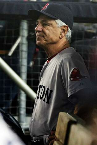 Boston Red Sox manager Bobby Valentine watches his team play during the fourth inning of a baseball game against the New York Yankees, Wednesday, Oct. 3, 2012, in New York. (AP Photo/Frank Franklin II) Photo: Frank Franklin II, Associated Press / AP
