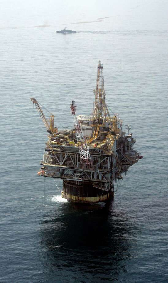 The Chevron Genesis oil rig platform is shown in the Gulf of Mexico near New Orleans. Offshore drilling in the U.S. is down 17 percent over the last several years. Photo: Mary Altaffer, STF / AP