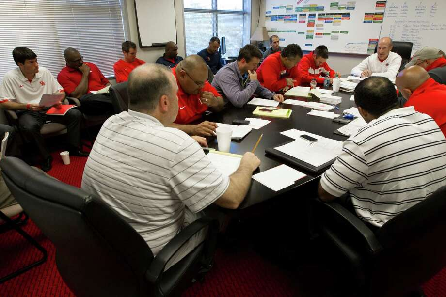 University of Houston head football coach Tony Levine meets with his coaching staff during the morning. Photo: J. Patric Schneider, For The Chronicle / © 2012 Houston Chronicle